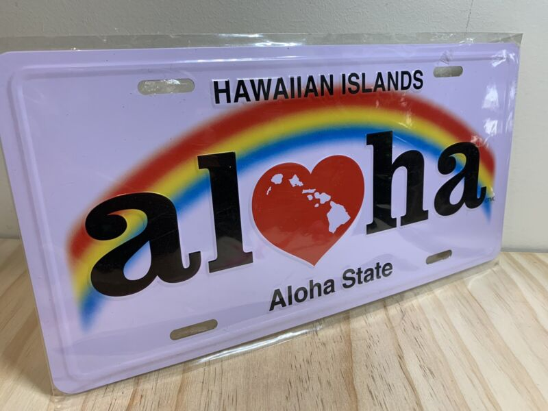 Hawaiian Aloha State Novelty License Plate Hawaii Rainbow Island Decor New