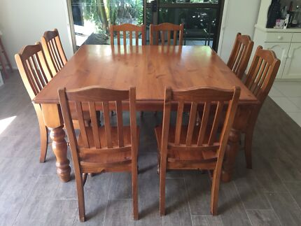 Square 8 Seater Wooden Dining Table And Chairs