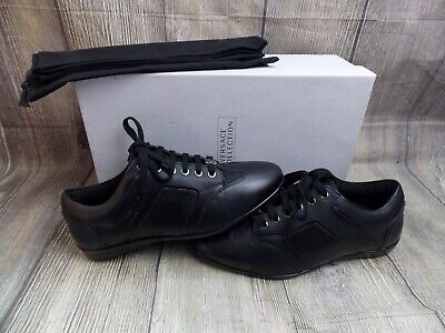 VERSACE COLLECTION MENS LOGO TRAINERS BNIB GENUINE £200 6uk SHOES SNEAKERS BLACK