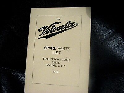 VELOCETTE GTP RIGID FRAME MODELS PARTS MANUAL HARD COPY 1930-46  VELP06