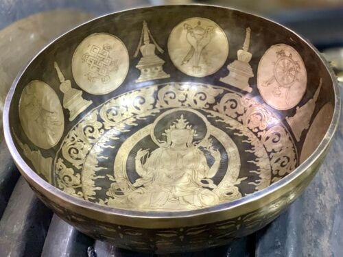 "15"" Handcrafted Goddess Engraved-Tibetan Singing Bowl From Nepal, meditation"