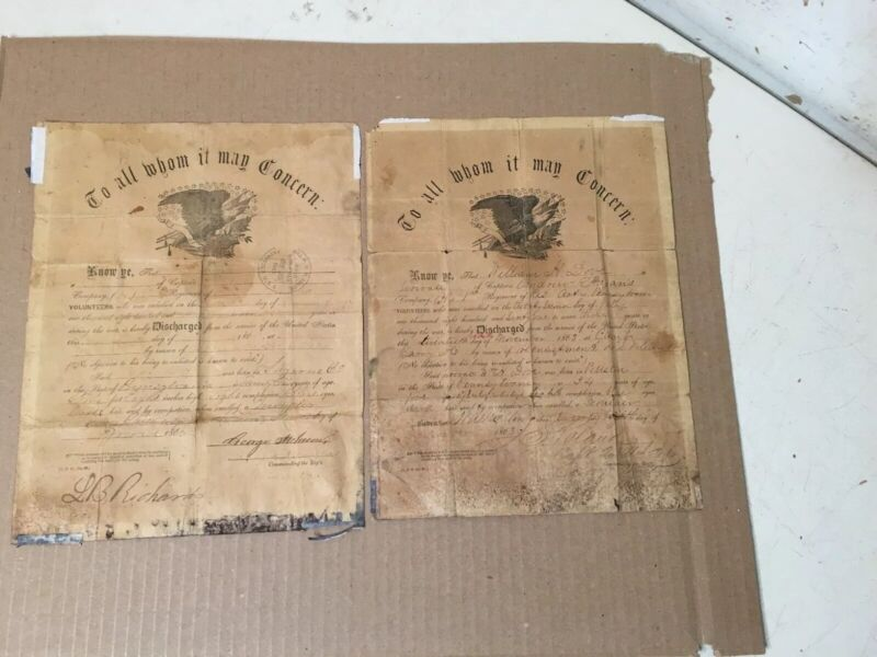 Two Antique Civil War Discharge Papers Pennsylvania Volunteers Company H