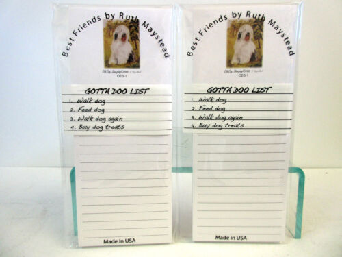 New Old English Sheepdog Magnetic Refrigerator List Pad Set of 2 Pads OES-1