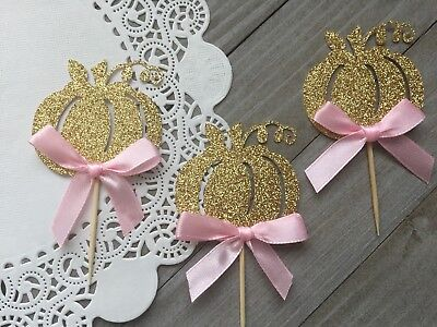 12 Gold Glitter Pumpkin Cupcake Toppers With Pink Bow, Little Pumpkin Birthday (Gold Glitter Bow)