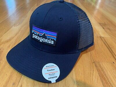 NEW PATAGONIA P6 LOGO MID CROWN TRUCKER HAT NAVY SNAPBACK OSFA CAP FREE SHIP