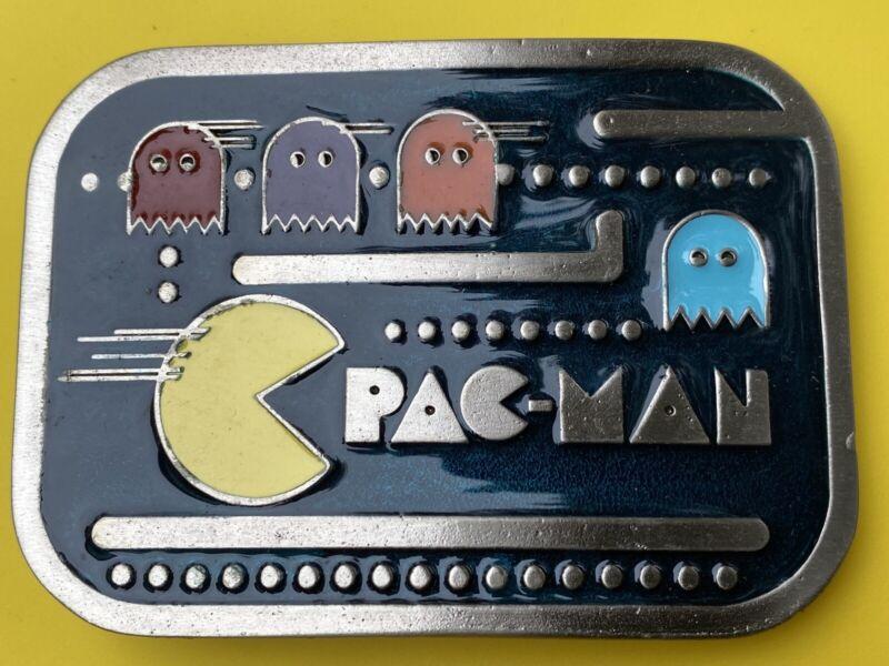 Vtg 1980's NOS Pac Man Video Arcade Game Metal Belt Buckle Bright Enamel Pacman
