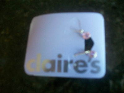 Claires Pink Crystal  Sparkly Earrings