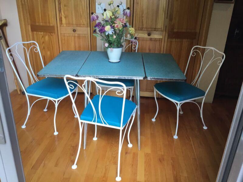 Vintage Art Deco 1950 Aqua Chrome Formica Table Metal Lyon Shaw Chairs Kitchen