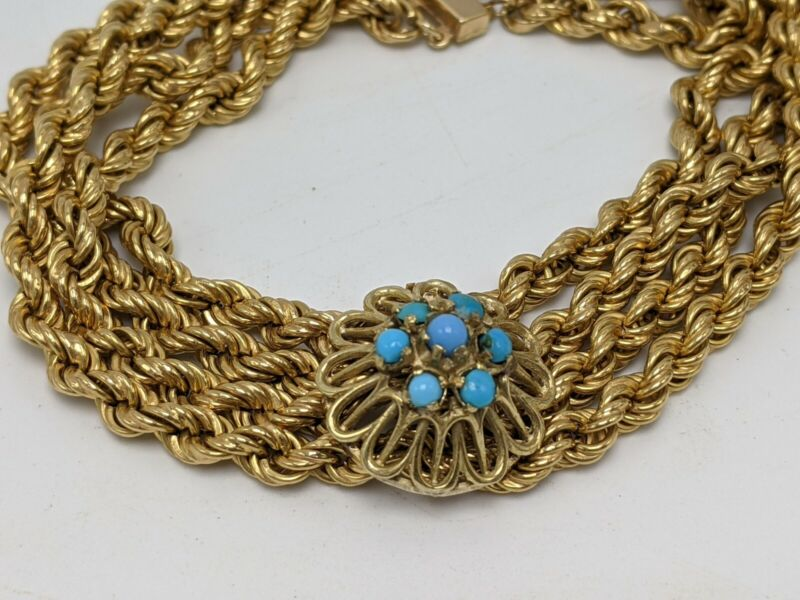 """14K Solid Yellow Gold Victorian Turquoise Rope Chain Bracelet 8"""" (23.74g)"""