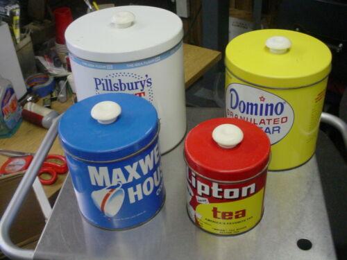 Vintage J.L. Clark Pillsbury's Domino Maxwell House Lipton Tea Canister Set  t10