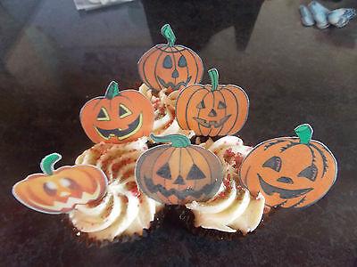 12 PRECUT Edible Halloween Pumpkins wafer/rice paper cake/cupcake toppers (Halloween Pumpkins Edible)