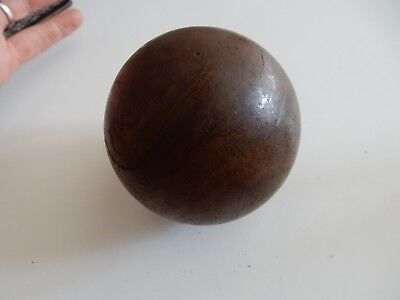 HARDWOOD TACTILE BALL SUPERB PATINA SUIT NEWEL POST FINIAL STAIRCASE UPCYCLE  B