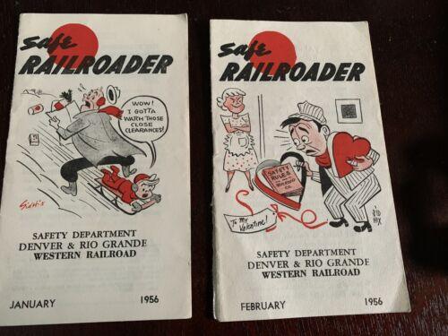 2 - Vintage 1956 Railroad - Safe Railroader - Safety Booklets Denver Rio Grande