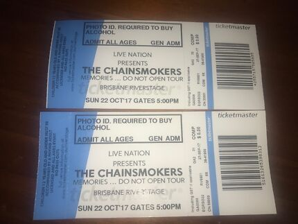 2 x general admission chainsmoker tickets