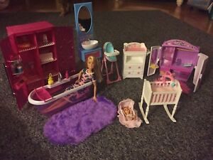 Barbie with baby/Barbie furniture/Barbie clothes & accessories