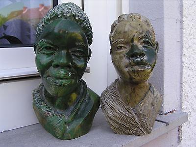 Paar Skulptur Büste Stein Serpentin Shona Simbabwe Stone Afrikanerin Afrikaner