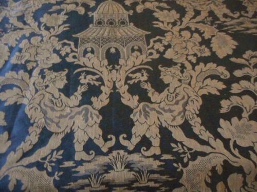 Vintage Chinoisoire Pagoda Figural Bird Jacquard Damask Fabric~ Black Bronze