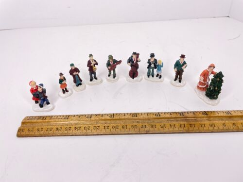 Lot of 9 Christmas Village People Townsfolk Figurines Figures