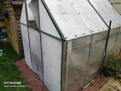 Used aluminium greenhouse 8x6 including potting table