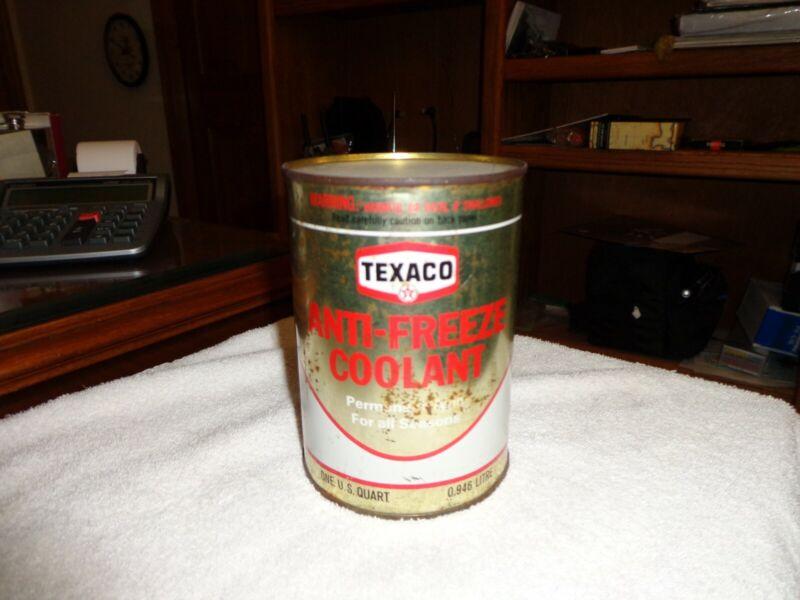Vintage Texaco Anti Freeze Coolant 1 QT Full dated 4-72 Hexagonal Logo w/Tag