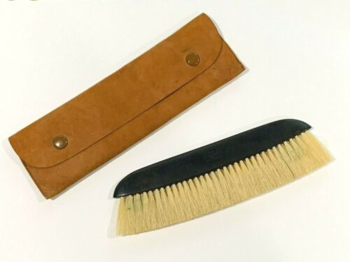 Vintage Ebony Clothes Brush with Leather Case