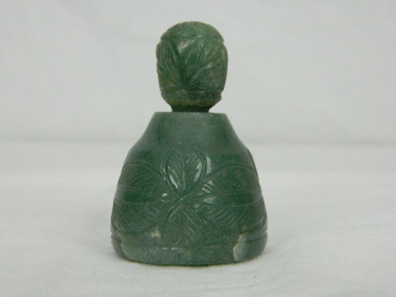 Vintage Carved Green Jade Snuff Bottle With Stopper Flower Design