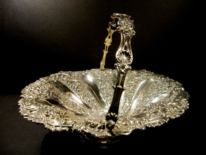 Silver Plated Footed Cake Basket Swing Handle Repousse Grape Floral Pattern Rose