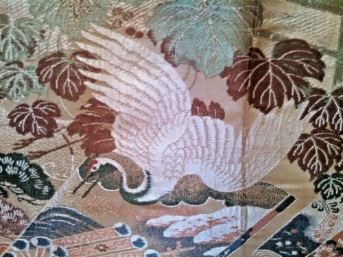 Fine Antique Japanese Obi / Cranes & Chrysanthemums / Kyoto ?