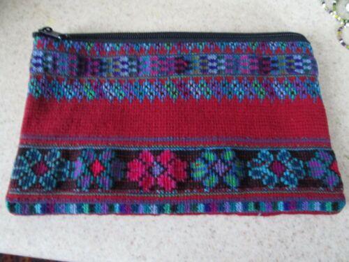 HAND MADE HUIPIL GUATEMALA stash bag purse flowers red purple folk art cosmetic