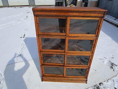 ANTIQUE C-1910 DANNERS 4 SECTIONAL SLIDING DOOR TIGER OAK BARRISTER BOOKCASE