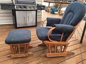 Sliding rocking chair w/matching ottoman