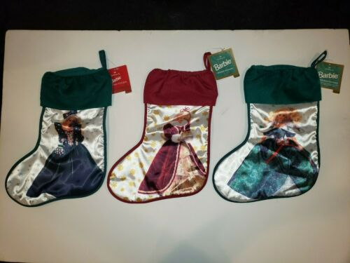 LOT (3) NEW Hallmark Barbie Happy Holidays Christmas Stocking FREE SHIPPING