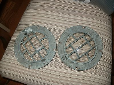 two marine brass port hole or deck light cover  solid brass 7 in clear glass