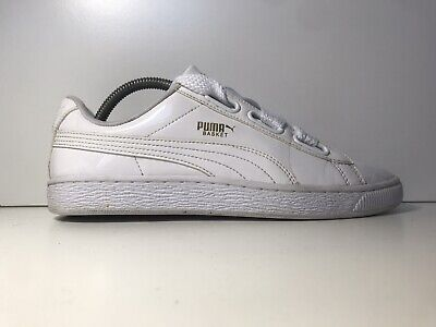 PUMA BASKET HEART PATENT LEATHER WHITE TRAINERS SIZE 7 UK