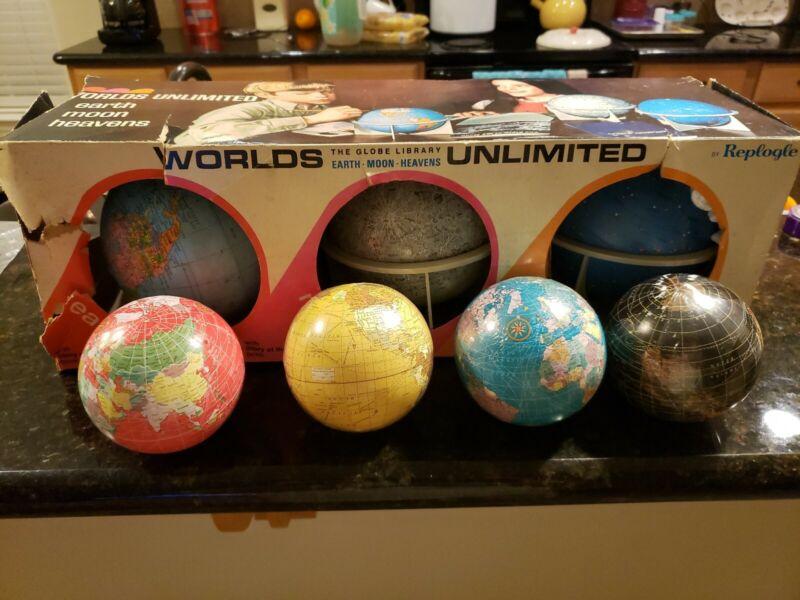 Vintage Replogle Worlds Unlimited Globe Globes Set of 3 plus bonus globes