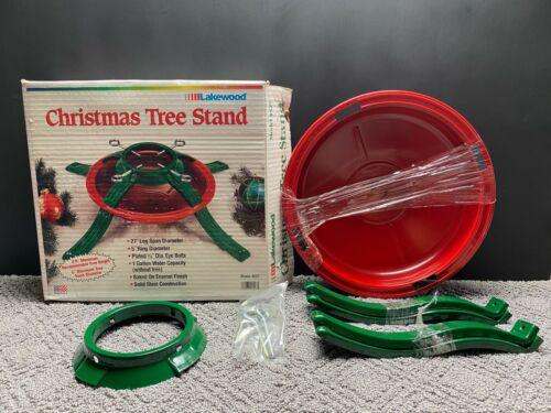 Vintage Lakewood Steel Metal Christmas Tree Stand Model 4527 Red & Green