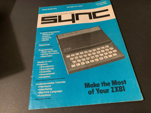 """QTY-1 TIMEX SINCLAIR """"SYNC"""" MAGAZINE FOR SINCLAIR USERS VINTAGE 48 PAGES"""