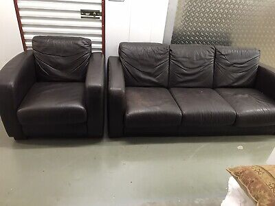 Leather Sofa And Armchair With FREE DELIVERY