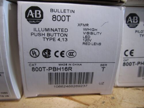 NEW ALLEN BRADLEY 800T-PBH16R PUSH BUTTON
