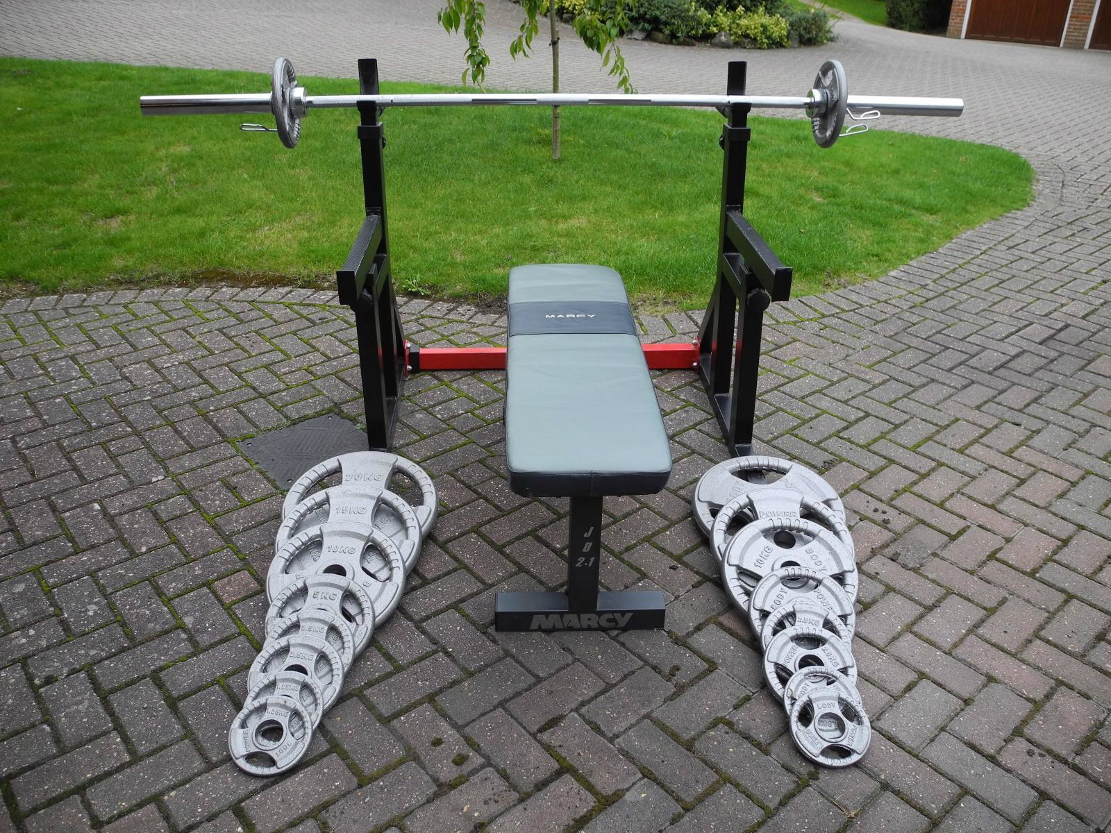 Olympic Barbell Set and Plates with Marcy Bench and Bodymax Rack, £365