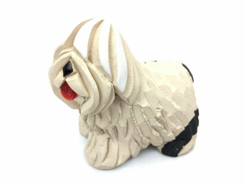 Old English Sheepdog Pottery Figurine Studio Art Signed