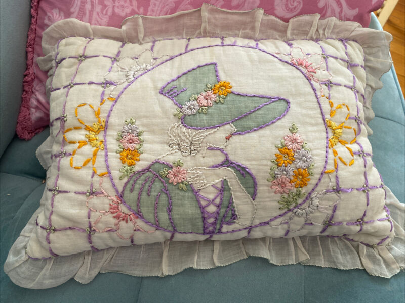 Antique Vintage Embroidered Pillow Southern Belle Floral Denver Sugar Sack back