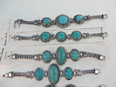 *US Seller*lot of 10 antique vintage style turquoise gemstone fashion bracelet
