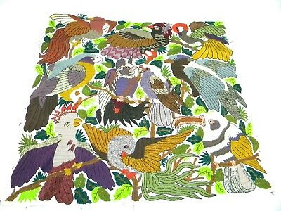 "VINTAGE HANDCRAFTED JUNGLE BIRD WEDDING TAPESTRY, 32"" X 30"""