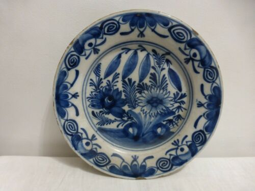 Antique Dutch Delft ceramic plate.18th  Assiette faience Delft. Pottery.Flowers