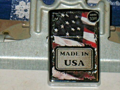New ZIPPO Windproof Lighter 29679 Made in USA American Flag Hi Polish Chrome Cs