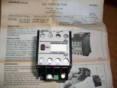 SIEMENS C21 Contactor #C21AC13 NOS Part SIEMENS-ALLIS