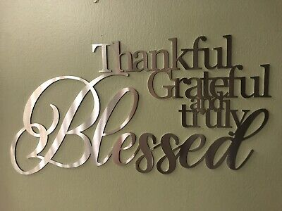 Thankful Grateful Blessed (Home Decor Metal Wall Art Blessed Thankful)