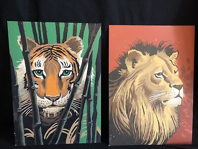 """vintage paint by numbers 10""""x14"""" set of 2 Tiger & Lion"""
