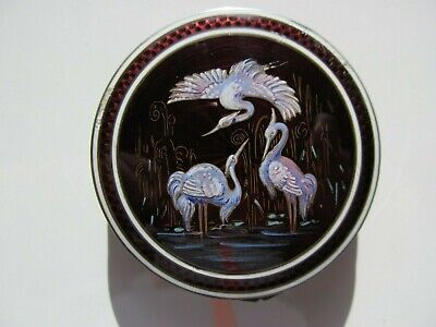 ANTIQUE GREAT BLUE HERON PILL BOX STERLING SILVER & GUILLOCHE ENAMEL FOR REPAIR
